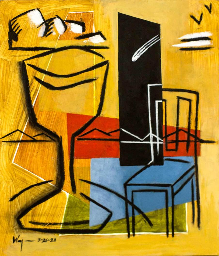 Cup, Chair and Comet, mixed media on panel, 14 X 12, 2020