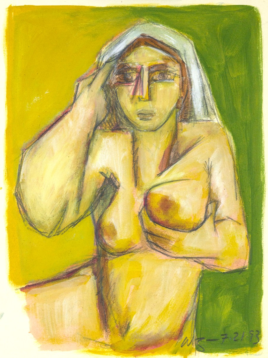 Seated Nude With Shawl, mixed media on paper, 12 X 8, 1993