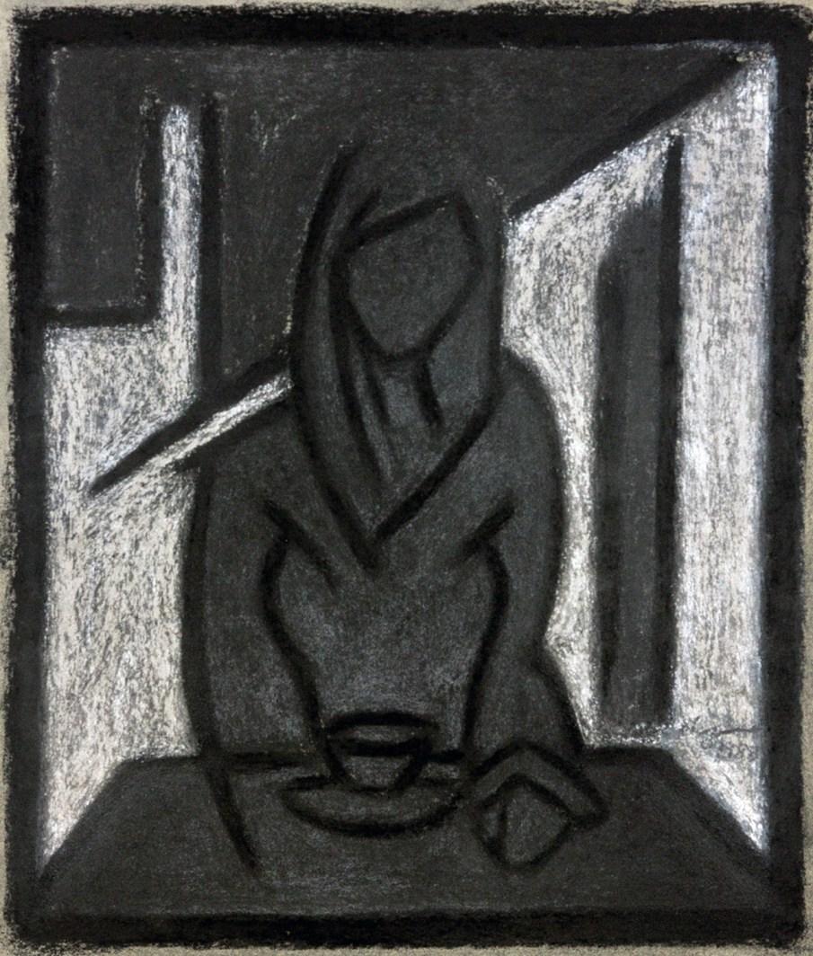 Tea, pastel on paper, 14 X 11, 1988