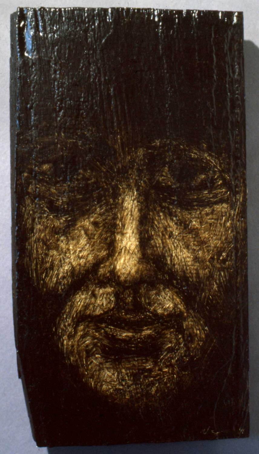 Fragment No. 1, oil on wood, approx. 9 inches tall, 1991, private collection