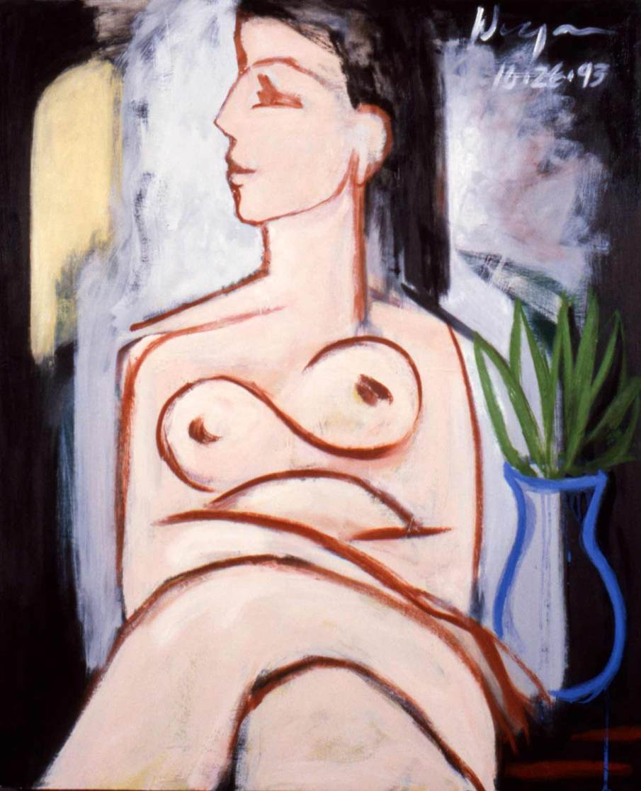 Seated Nude With Blue Vase, oil on canvas, 36 X 24, 1993, NFS
