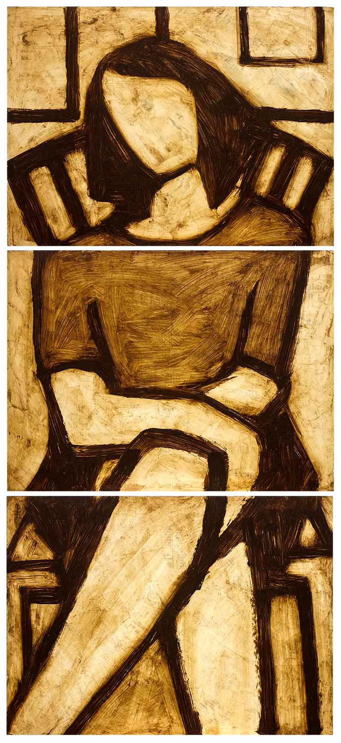 Seated Woman, oil on 3 panels, approx 27 X 12, 1998