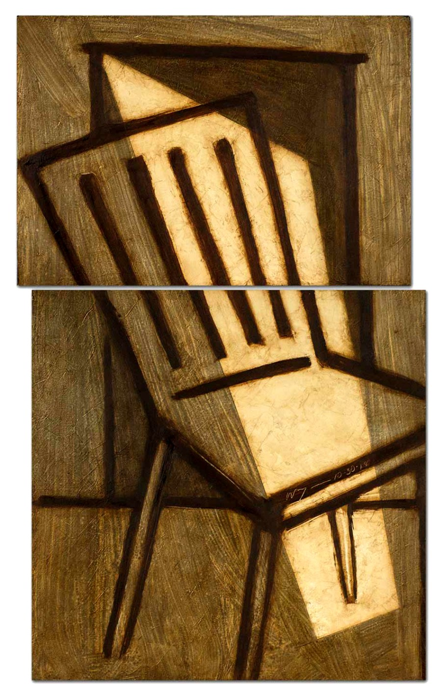 Chair and Doorway, oil on two panels. 21 X 14, 2018