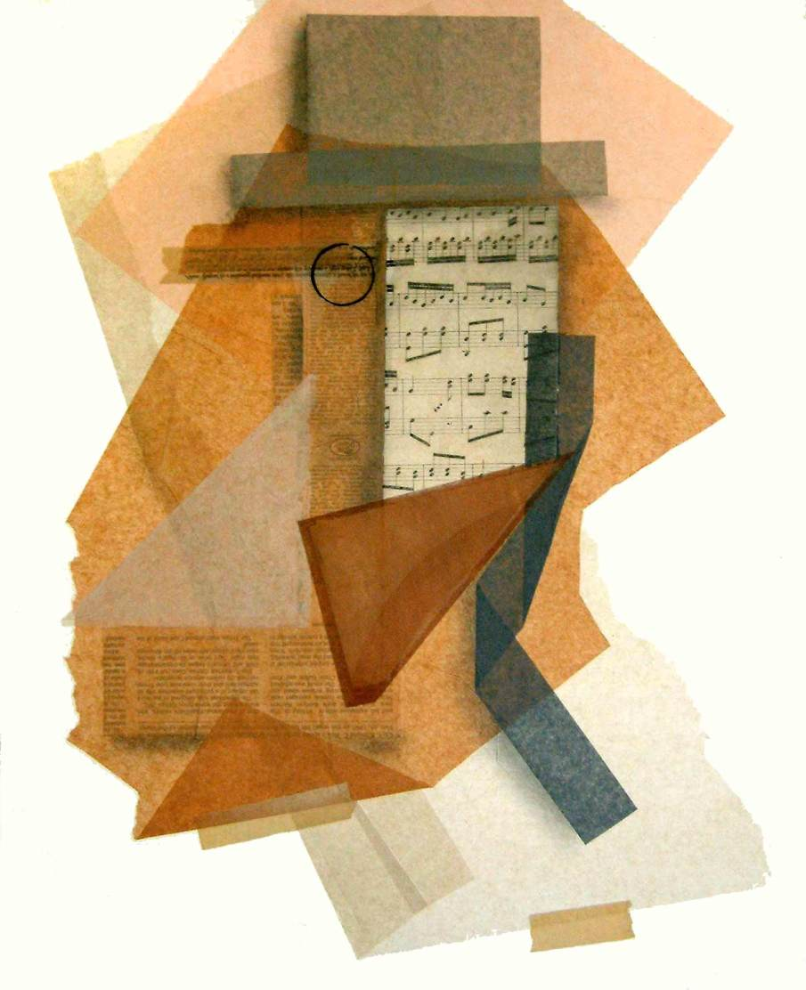 Man With Music, mixed media on mat board, 20 X 16, circa 2003, private collection