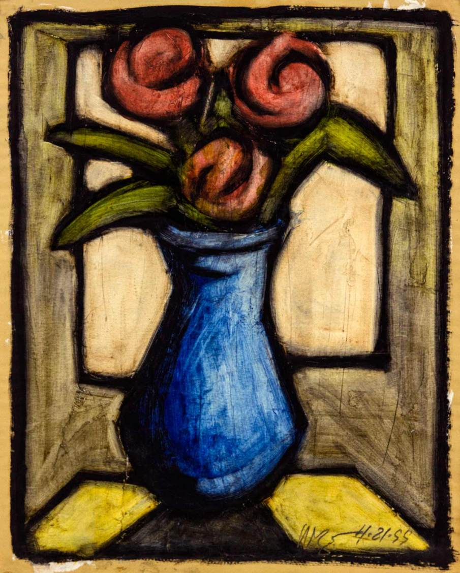 Blue Vase with Flowers, oil on paper, 14 X 11, 1999