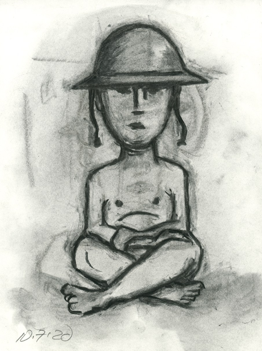 Doughboy, charcoal on paper, 11 X 8, 2020