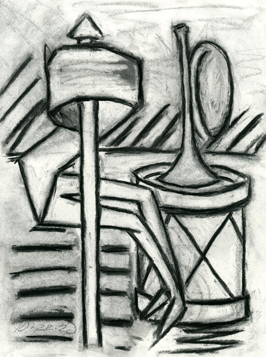 Banner, Drum and Trumpet, Charcoal on paper, 11 X 8.5, 2020