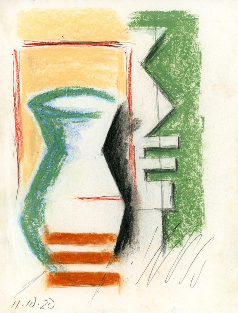 Green Vase, mixed media on paper, 11 X 8.5, 2020