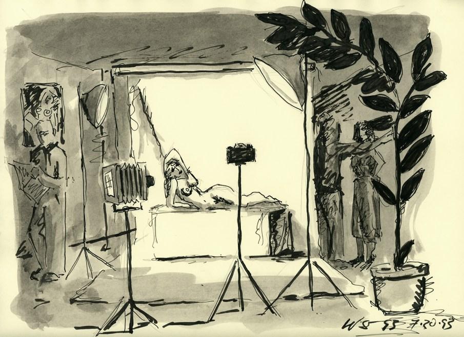 Studio Scene with Argument, Ink on Paper, 8.5 X 11, 1993