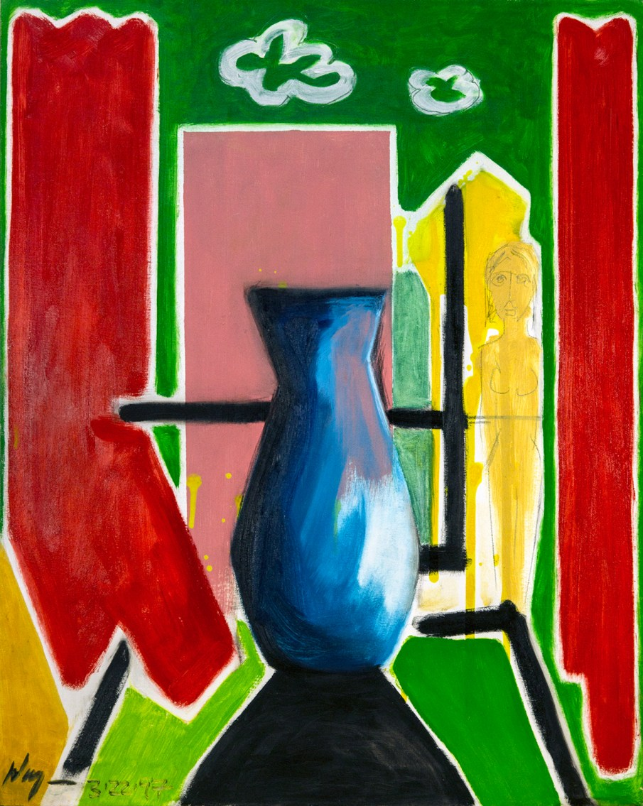 Blue Vase with Red Curtains, 30 X 24, 1997