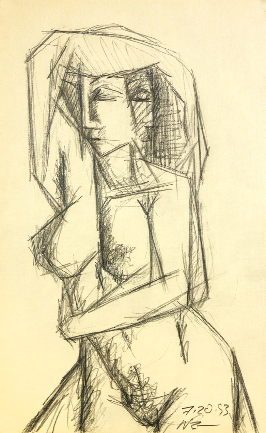 Standing Nude, graphite on paper, 16 X 10. 1993