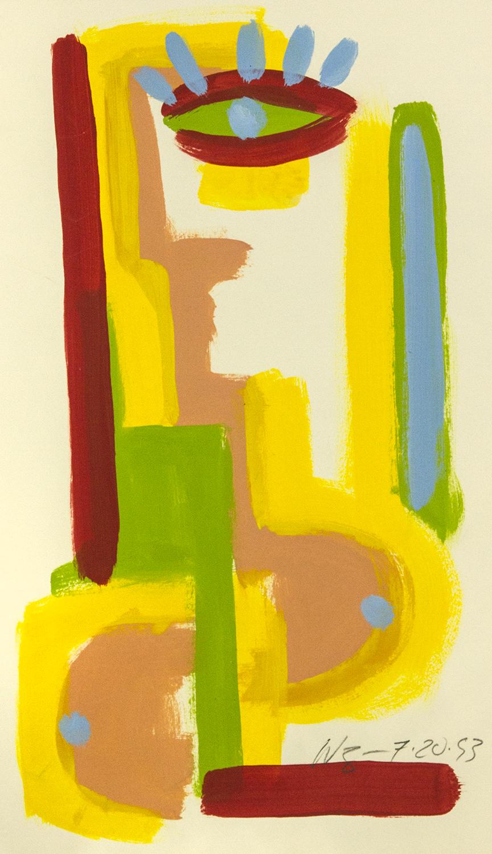 Simple Figure. acrylic on paper, 20 X 16, 1993