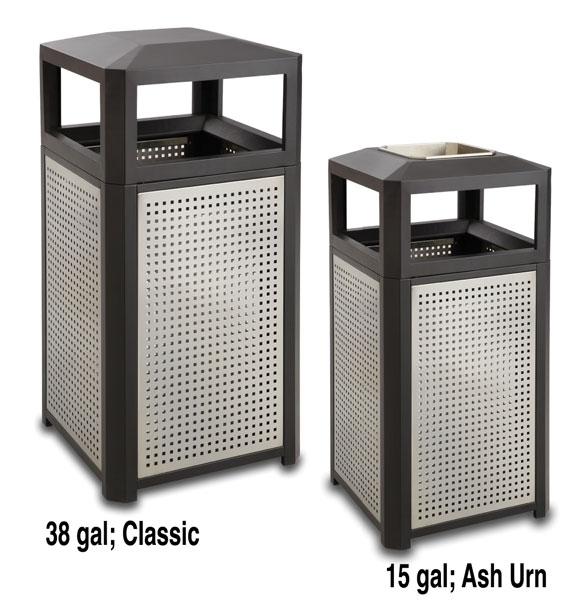 evos steel trash receptacles - Commercial Trash Cans