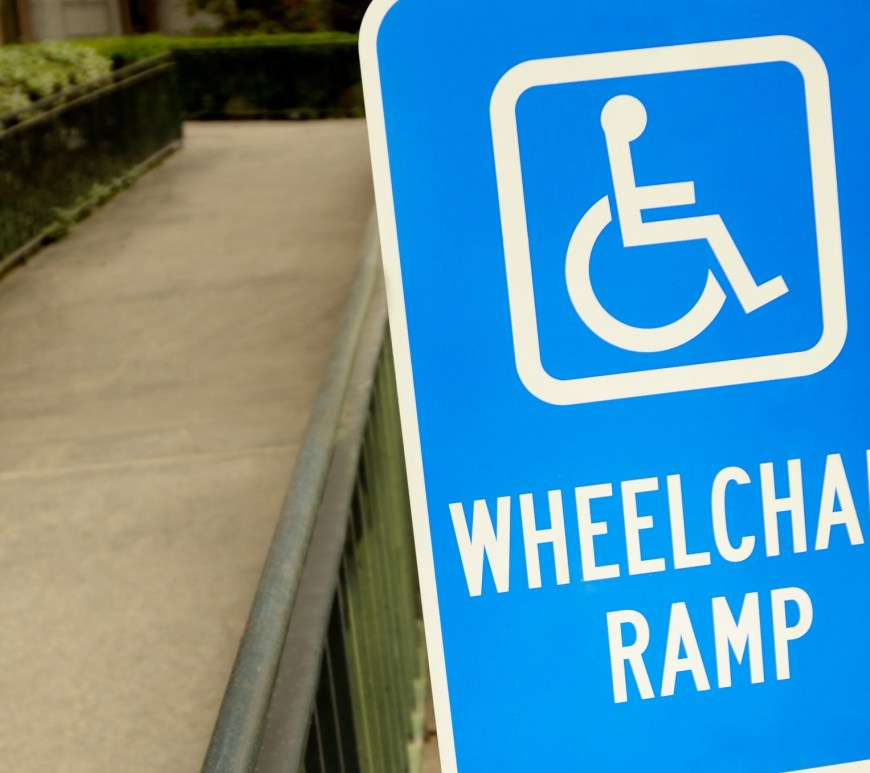 handicap wheelchair ramp sign