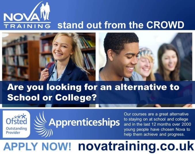 Nova-Training Stand out of the CROWD Are you looking for an alternative to School or College? Our courses are a great alternative to staying on at school and college and in the last 12 months over 2000 young people have chosen Nova to help them achieve and progress.