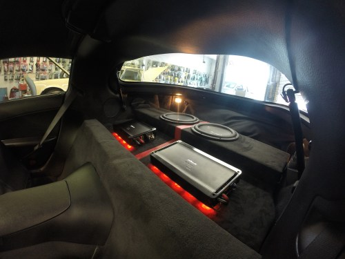 small resolution of custom led lighting underneath amps custom amp rack and sub enclosure wrapped in suede and red trim stripe