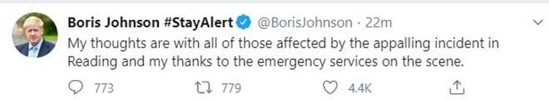 Prime Minister Boris Johnson also responded to the 'appalling' attack and thanked the emergency services