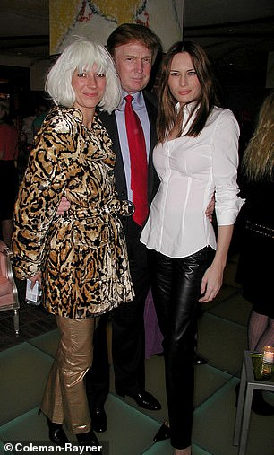 Donald Trump is pictured above withfuture wife Melania andGhislaine Maxwell