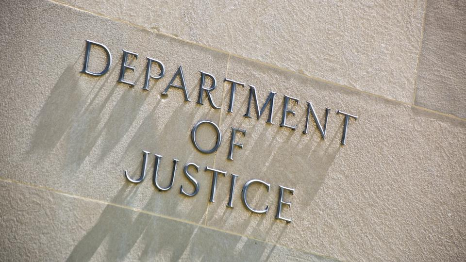 Building Entrance Sign for the Department of Justice in Washington DC