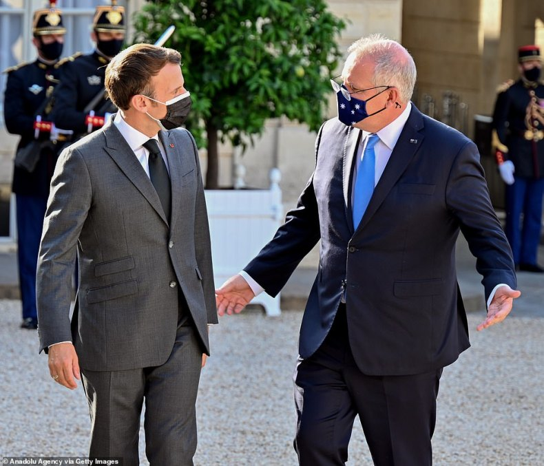 France has been 'stabbed in the back' by the Australian nuclear submarine deal, a former top diplomatic official has said. French President Emmanuel Macron with Prime Minister Scott Morrison at the Elysee Palace in Paris in June