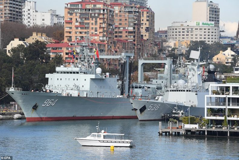 Pictured: Chinese ships docked atGarden Island Naval Base in Sydney Harbour in June 2019