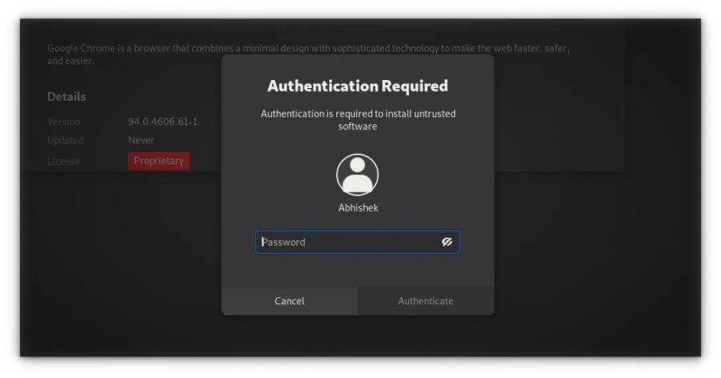 enter account password while installing deb file