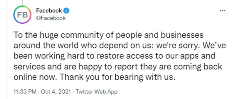 At 11.33pm on Monday, Facebook tweeted to apologise about the global outage of its services. They added that they were 'happy to report' that they were coming back online