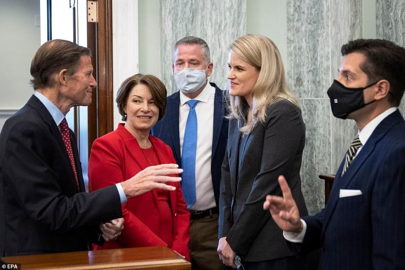 Haugan was greeted by Senator Richard Blumenthal and Senator Amy Klobuchar when she arrived for her testimony