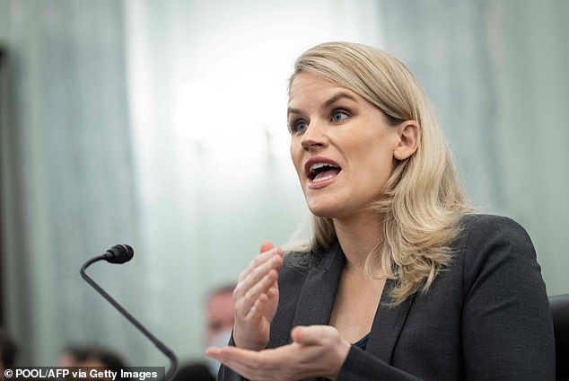The outage came hours before ex-employee turned whistleblower Frances Haugen testified to Congress Tuesday (pictured) about Facebook's dangers to young people and democracy