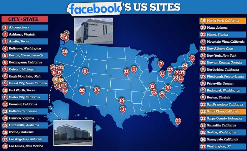 Facebook operates dozens of offices and data centers around the US. Monday's outage reportedly knocked out physical access to the company's facilities when key card systems went offline