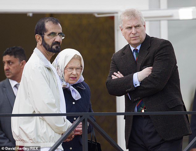 Horse racing has cemented ties between the Windsors and the Maktoums. Pictured: Sheikh Mohammed, Queen Elizabeth and Prince Andrew at the Royal Windsor Horse Show in 2016