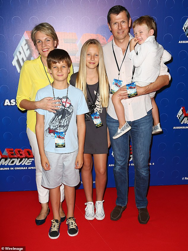 He married Ms Plibersek in 2000 when she was a recently elected, first-term federal Labor MP and they now have three children together (the family is pictured in 2014 in Sydney)