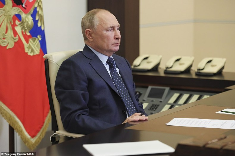 Vladimir Putin (pictured on October 11) confirmed that he had received Russia's Sputnik V shot earlier this year.It was reported today that British security sources have evidence that a Moscow mole took the AstraZeneca design to help Russian scientists develop the Sputnik jab