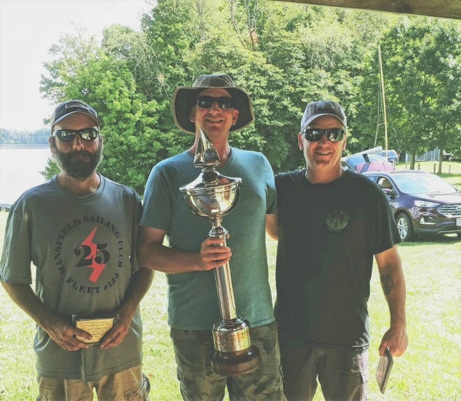 Jon Varley of Bellville, with his crew Matt Buchanan and Don Bacharowski, recently won the 26th Annual Bare Bones Regatta at Mansfield Sailing Club on the Clearfork Reservoir.