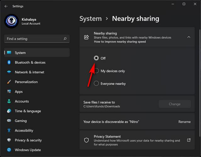 Disable Nearby Sharing on Windows 11