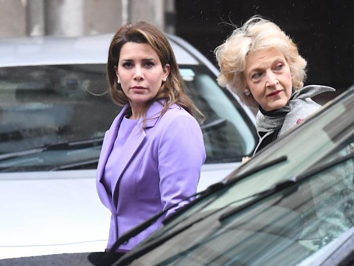 rincess Haya Bint al-Hussein arrives with her lawyer Baroness Fiona Shackleton at the High Court on February 28, 2020.