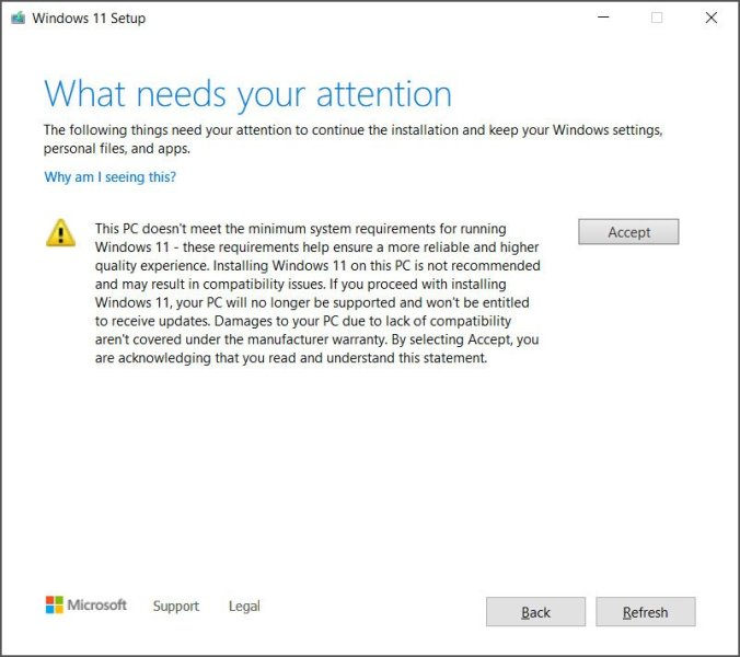 Waiver for installing Windows 11 on unsupported hardware