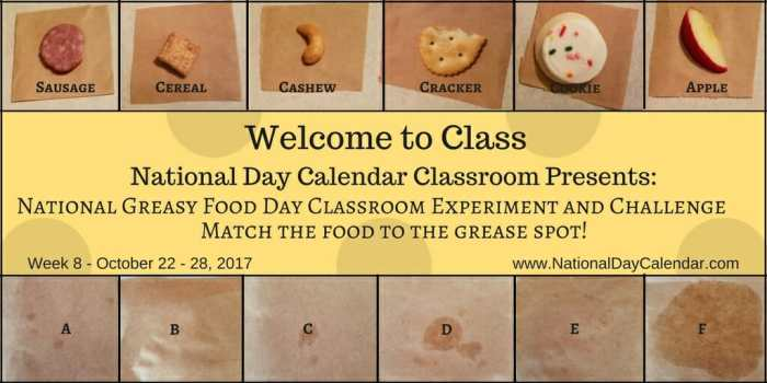 National Day Calendar Classroom - October 22 -28, 2017