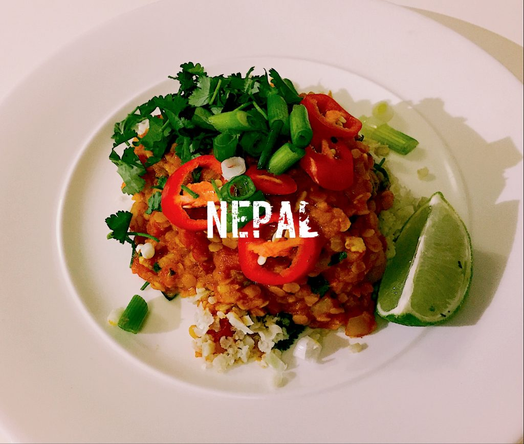 Nepalese Dal Bhat - lentil curry with cauliflower rice | Low carb | nationaldish.co.uk