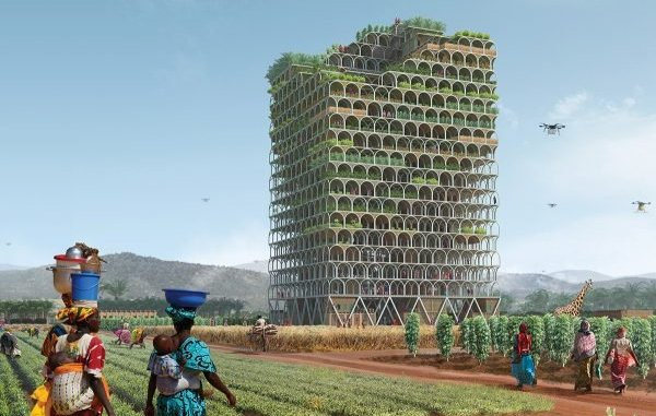 """The brainchild of Polish architects Pawel Lipiński and Mateusz Frankowski, the Mashambas Skyscraper is a new concept for a skyscraper designed to """"bring [the] green revolution to the poorest people,"""""""