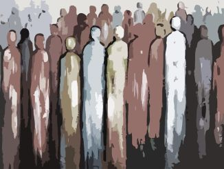 crowd of immigrants, painting