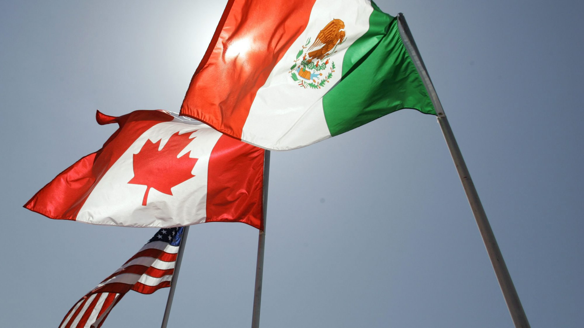 mexican american canadian flags