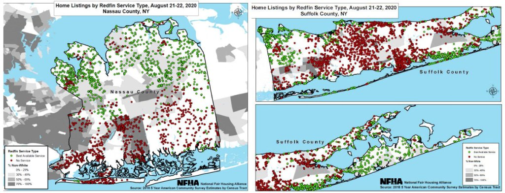 Maps of excluded Redfin listings for Nassau and Suffolk