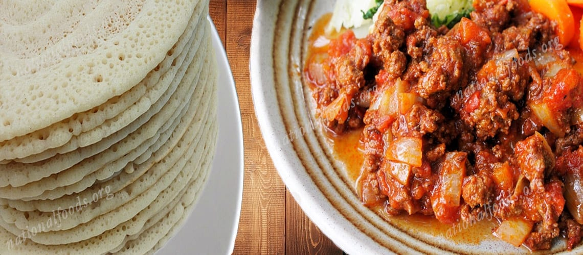 National Dish of Eritrea – Zigini with Injera