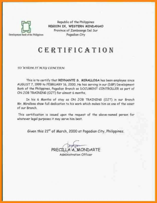 Sample certificate of employment for japan visa