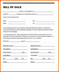 Example Of Bill Of Sale For Car | Template Business