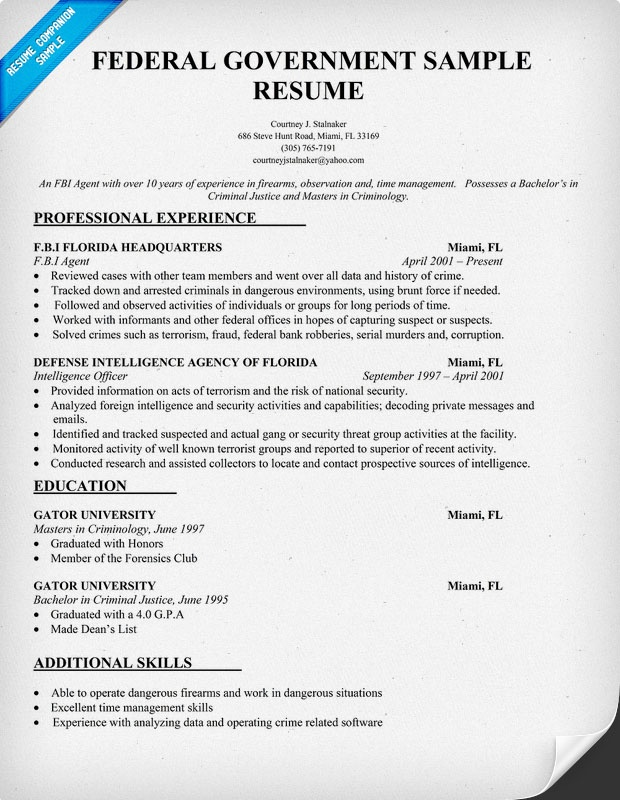 example of entry level federal job resume