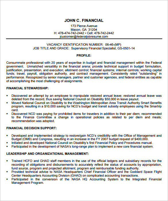 Federal Resume Template  Template Business