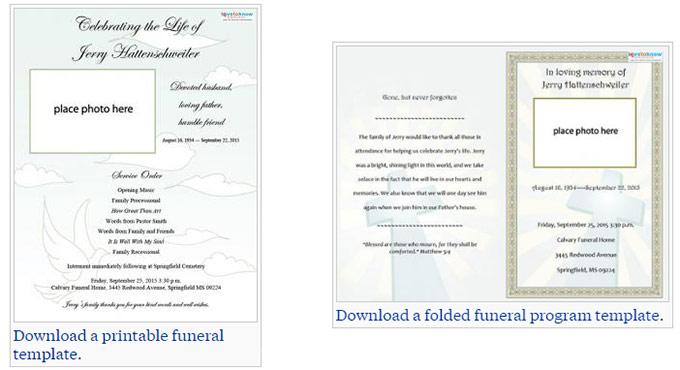 free editable funeral program