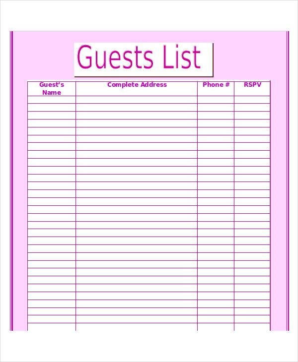 Guest List Template Business
